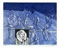 "f.) A day with the mummers by  Anthe Intaglio - Etching ~ 9"" x 10"""