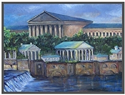 "a.1) Philadelphia Museum of Art and the Waterworks by  Anthe Acrylic ~ 40"" x 52"""