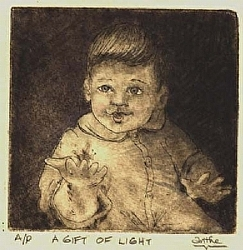 "The Gift of  Light  SOLD OUT by  Anthe Intaglio - Drypoint ~ 3"" x 3"""
