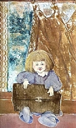 "g 2.) Girl With Brown Box by  Anthe Intaglio - Etching ~ 13 1/2"" x 7 1/4"""