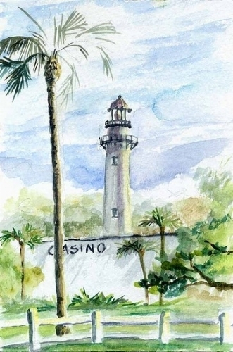 "s.3) Casino Lighthouse St. Simons Island, GA-SOLD by  Anthe Watercolor ~ 6"" x 4"""
