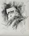 Castello Suevo, Porto Recanati,  Marche, Italia, 13x11, charcoal on paper by Sandra Bray