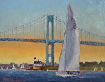 12 Meter Sail Newport Harbor by Betty Ann Morris Oil ~ 12 x 9
