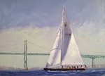 Fogs Rolling In Newport Harbor by Betty Ann Morris Oil ~ 9 x 12