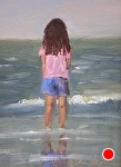 Kendra Loves The Beach by Betty Ann Morris Oil ~ 7 x 5