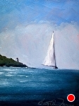 Sailing by Castle Hill Newport RI by Betty Ann Morris Oil ~ 8 x 6