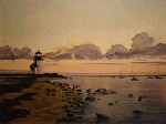 Brant Point LightHouse  Nantucket MA by Betty Ann Morris Oil ~ 24 x 18