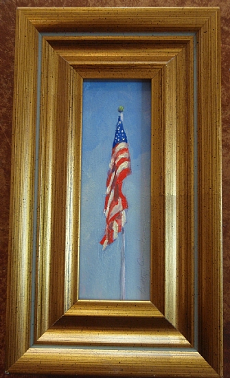 Miniature American Flag by Betty Ann Morris Oil ~ painting 3.5 inches x painting 1 1/4 inches