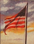Flag at Sundown by Betty Ann Morris Oil ~ 6 x 8
