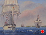 Tall Ships by Betty Ann Morris Oil ~  x