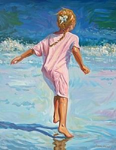 Beach Girl by Lindsay Dawson Hand-Pulled Serigraph ~ 30 x 24