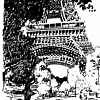 Eiffel Tower Sketch by Ernie Marjoram Pen & Ink ~ 11 x 8.5