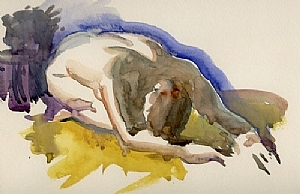 Yellow Rug by Ernie Marjoram Watercolor ~ 8 x 12