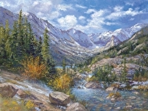 Longs Peak from Mills Lake, RMNP by Lillian Kennedy  ~ to order x