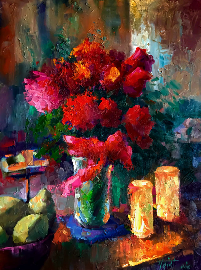 Roses By Candlelight - Oil
