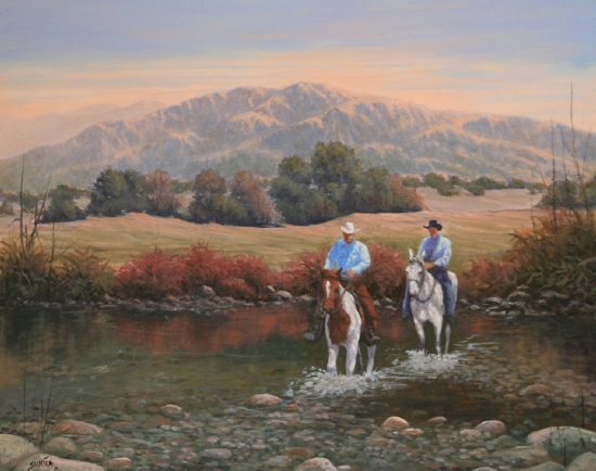 090228-1620 Shallow Crossing by Kenneth Shanika Oil ~ 16 x 20
