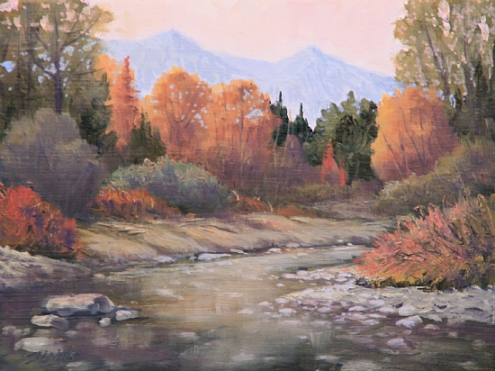 101106-68  Gently Flowing by Kenneth Shanika Oil ~ 6 x 8