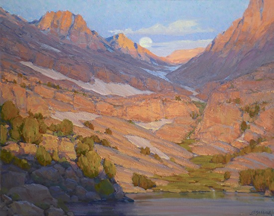 Sierra Sunrise and Moonset - Oil