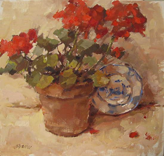 Geranium with Blue Plate - Oil
