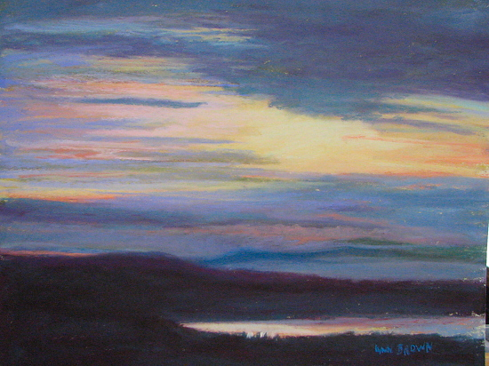 Dawn Over the River 11 - Pastel