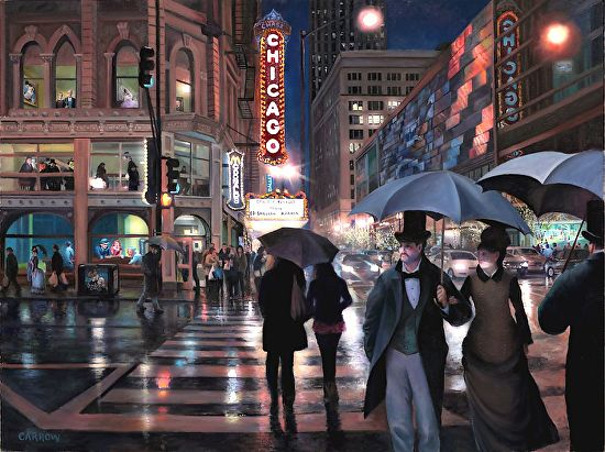 """Chicago Street; Rainy Night"" - Giclee on Fine Art Paper"