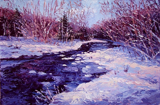 East Sandy Creek in Winter by Fred Carrow Oil ~ 20 x 30