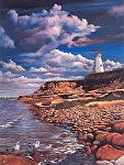 Lighthouse at Prince Edward Island by Fred Carrow lithograph ~ 20 inches x 16 inches