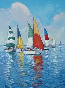 Sails in Primary by Trisha Witty  ~ 24 x 18