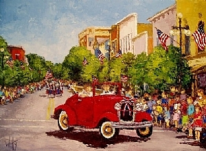 Mr. H's Red Car in July Fourth Parade by Trisha Witty Oil ~ 18 x 24