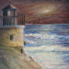 lighthouse at red sunset , Sailor's Delight