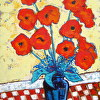 ''RED CHECK POPPIES ''