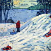 ''WINTER FUN AT MANITO-WISH'' OIL PAINTING BY SUSAN HALE 30''X40''unframed 35''x45''FRAMED $3,000