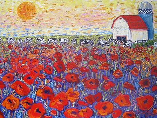 ''POPPIES IN THE PASTURE'' - Oil