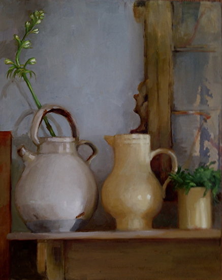 Pottery on a Shelf - Oil