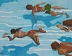 "Four Swimmers by Garland Mattox Oil ~ 48"" x 60"""