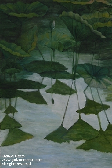 "Water lilies at Dusk by Garland Mattox Oil ~ 36"" x 24"""