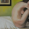 "nude on bed by Garland Mattox Oil ~ 30"" x 40"""