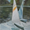"sailboat study 2 by Garland Mattox Oil ~ 36"" x 24"""
