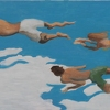 "Three Swimmers by Garland Mattox Oil ~ 24"" x 48"""