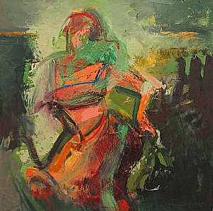 Dancer (yellow-green) by Ursula O`Farrell Oil ~ 30 x 30
