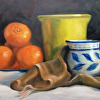Clementines, Green Vessel, Blue and White Pitcher
