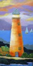 "Mary's Lighthouse  2 by Lorraine Duncan Acrylic ~ 24"" x 12"""