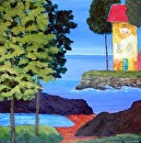 "My Yellow House by Lorraine Duncan Acrylic ~ 16"" x 16"""
