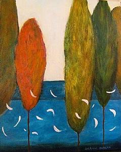 "Poplars I by Lorraine Duncan Acrylic ~ 20"" x 16"""