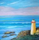 "Mary's Lighthouse 3 by Lorraine Duncan Acrylic ~ 12"" x 12"""
