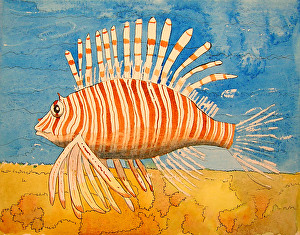 Lion Fish by Louise Audrieth Watercolor ~ 10 1/2 x 13 1/2