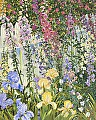 Foxgloves and Iris by John Powell Serigraph on Paper ~ 30 x 24