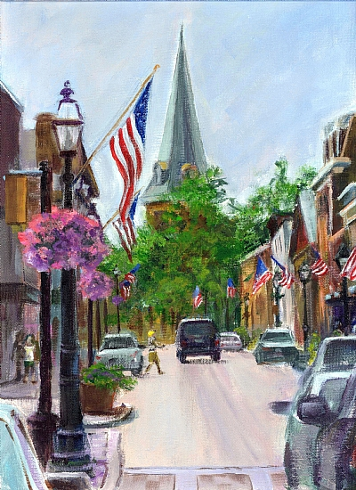 DOWNTOWN ANNAPOLIS, READY FOR THE 4TH by Cecelia Lyden Acrylic ~ 12 x 9
