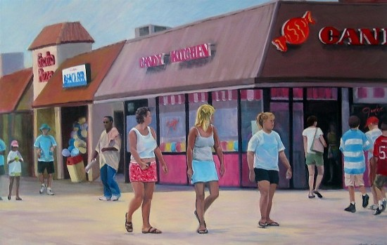 STROLLING ON THE BOARDWALK - Acrylic