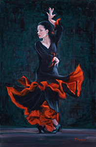 """Lady in Black"" by Roseann Munger Oil ~ 30 inches x 20 inches"